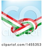 Clipart Of A Knotted Italian Ribbon Flag Over Gradient Royalty Free Vector Illustration