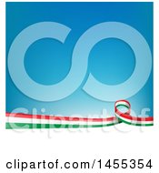 Clipart Of An Italian Ribbon Flag Border Between White And Blue Royalty Free Vector Illustration by Domenico Condello