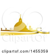 Clipart Of A Golden Silhouetted Vatican City Over A Flag Royalty Free Vector Illustration by Domenico Condello