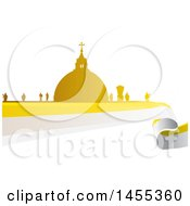 Clipart Of A Golden Silhouetted Vatican City Over A Flag Royalty Free Vector Illustration