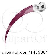 Clipart Of A Soccer Ball And Qatar Flag Ribbon Royalty Free Vector Illustration