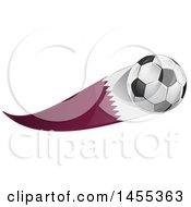 Poster, Art Print Of Soccer Ball And Qatar Flag Ribbon