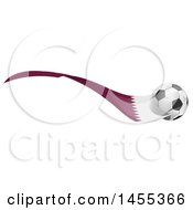 Clipart Of A Soccer Ball And Qatar Flag Ribbon Royalty Free Vector Illustration by Domenico Condello