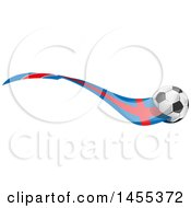 Clipart Of A Soccer Ball And Argentine Flag Ribbon Royalty Free Vector Illustration