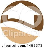 Clipart Of A Brown And Tan House Circle Design Royalty Free Vector Illustration