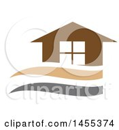 Clipart Of A Brown Tan And Gray Home Design Royalty Free Vector Illustration