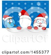 Clipart Of A Cartoon Happy Santa Claus Faceless Photo Op Template And Owl Over Snowflakes Royalty Free Vector Illustration