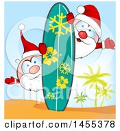 Clipart Of Cartoon Hapy Santas On A Tropical Island With A Surf Board And Palm Trees Royalty Free Vector Illustration by Domenico Condello