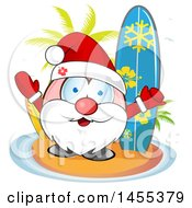 Clipart Of A Cartoon Hapy Santa Claus On A Tropical Island With Surf Boards And Palm Trees Royalty Free Vector Illustration