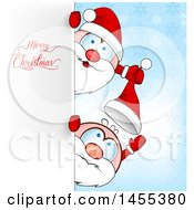 Clipart Of Cartoon Happy Santas Playing Around A Sign With Merry Christmas Text Royalty Free Vector Illustration by Domenico Condello
