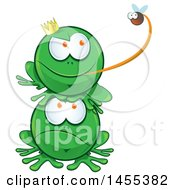 Clipart Of A Cartoon Frog On Top Of Another Grabbing A Fly With His Tongue Royalty Free Vector Illustration by Domenico Condello