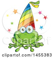 Clipart Of A Cartoon Happy Frog Wearing A Party Hat Royalty Free Vector Illustration by Domenico Condello