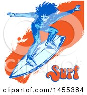 Clipart Of A Blue Male Surfer With Dreadlocks Riding An Orange Splatter Wave And Text Royalty Free Vector Illustration by Domenico Condello