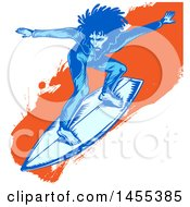Clipart Of A Blue Male Surfer With Dreadlocks Riding An Orange Splatter Wave Royalty Free Vector Illustration by Domenico Condello