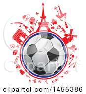 Clipart Of A Soccer Ball Globe With Red French Icons Royalty Free Vector Illustration