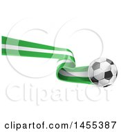 Clipart Of A Soccer Ball And Nigerian Flag Ribbon Royalty Free Vector Illustration