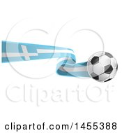 Clipart Of A Soccer Ball And Greek Flag Ribbon Royalty Free Vector Illustration