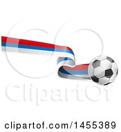 Clipart Of A Soccer Ball And Russian Flag Ribbon Royalty Free Vector Illustration