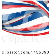 Clipart Of A Background Of French Flag Ribbon Banners Over White Text Space Royalty Free Vector Illustration