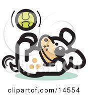 Playful Dog Playing With A Tennis Ball Clipart Illustration