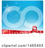 Poster, Art Print Of Chinese Ribbon Flag Border Between White And Blue