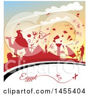 Poster, Art Print Of Travel Egypt Background With An Airplane Flag And Red Silhouetted Icons Against A Sunset