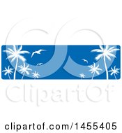 Clipart Of A Blue Sky And Silhouetted Palm Tree And Gulls Banner Royalty Free Vector Illustration
