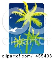 Clipart Of A Blue Sky And Silhouetted Green Palm Tree And Gulls Design Royalty Free Vector Illustration