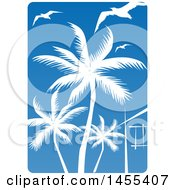 Clipart Of A Blue Sky And Silhouetted Palm Tree And Gulls Design Royalty Free Vector Illustration