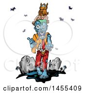 Clipart Of A Cartoon Zombie With An Owl On His Brains In A Cemetery Royalty Free Vector Illustration by Domenico Condello