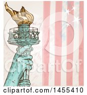 Poster, Art Print Of Sketched Statue Of Liberty Hand Holding Up A Torch Over Stars And Stripes
