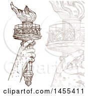 Clipart Of A Sketched Statue Of Liberty Hand Holding Up A Torch And Faded Closeup Royalty Free Vector Illustration by Domenico Condello