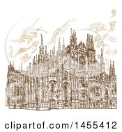 Clipart Of A Brown Sketch Of The Milan Cathedral Royalty Free Vector Illustration