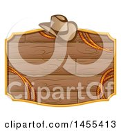 Clipart Of A Western Styled Wooden Sign With A Cowboy Hat And Rope Royalty Free Vector Illustration
