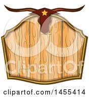 Clipart Of A Western Styled Wooden Sign With A Steer Skull Royalty Free Vector Illustration