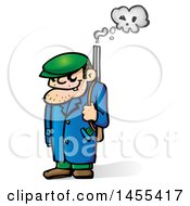 Clipart Of A Cartoon Mafia Mobster With A Skull Smoking Gun Royalty Free Vector Illustration by Domenico Condello