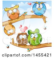Poster, Art Print Of Cartoon Owls On Tree Branches