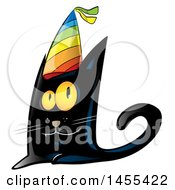 Clipart Of A Happy Black Cat Wearing A Colorful Party Hat Royalty Free Vector Illustration