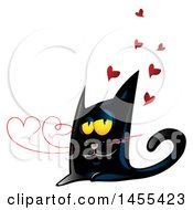 Clipart Of A Black Cat With Valentine Love Heart Shaped Whiskers Royalty Free Vector Illustration