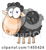 Clipart Of A Cartoon Happy Black Sheep Royalty Free Vector Illustration