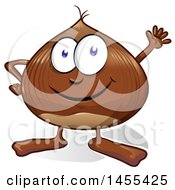 Clipart Of A Cartoon Chestnut Mascot Waving Royalty Free Vector Illustration