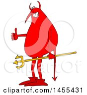 Poster, Art Print Of Cartoon Devil Holding A Trident And Giving A Thumb Up