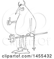 Poster, Art Print Of Cartoon Black And White Devil Holding A Trident And Giving A Thumb Up