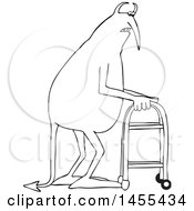 Cartoon Black And White Old Devil Using A Walker