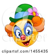 Clipart Of A Cartoon Yellow Emoji Smiley Face Clown Royalty Free Vector Illustration
