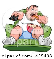 Cartoon Chubby White Man Couch Potato Watching Tv And Eating