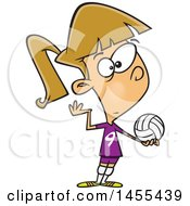 Cartoon White Girl Serving A Volleyball