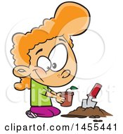 Clipart Of A Cartoon Red Haired White Girl Planting A Seedling Royalty Free Vector Illustration