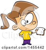 Cartoon White Girl Holding A Slice Of Bread