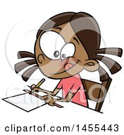 Clipart Of A Cartoon School Girl Measuring With A Ruler Royalty Free Vector Illustration by toonaday